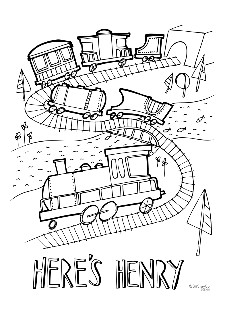 Fun printable train colouring activity